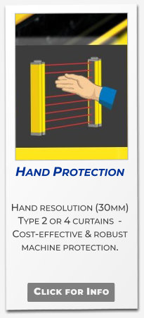 Bluetooth Safety  Slim Finger 14mm & Hand 30mm, Type 4 Safety light curtains with Bluetooth setup monitor & diagnostics.  Click for Info