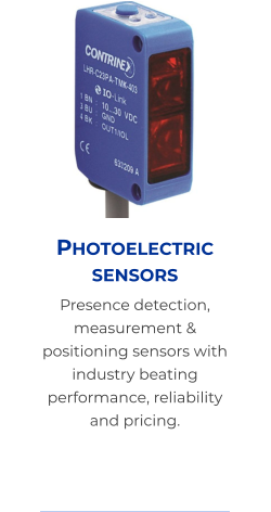 Photoelectric sensors Presence detection, measurement & positioning sensors with industry beating performance, reliability and pricing.